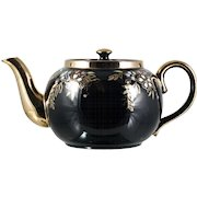 Sadler Vintage Brown Betty Teapot Black Gold Enameled Flowers 1940s English WWII