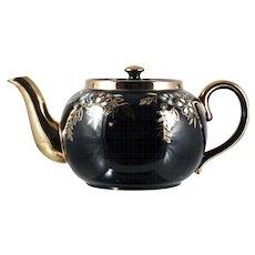 Sadler Vintage Brown Betty Teapot Black Gold Enameled Flowers 1940s English WWII
