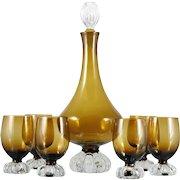 Aseda Art Glass Wine Decanter Set Mid Century Modern Brown Amber Barware 1950s