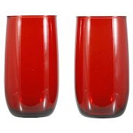 Royal Ruby Anchor Hocking Tumblers Iced Tea Roly Poly Small MCM Vintage Glass
