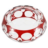 Bohemian Ruby Cut to Clear Ashtray Art Glass Vintage Thumbprint Red Crystal