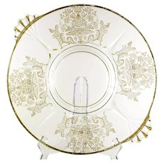 Paden City Vintage Glass Platter Gothic Garden Elegant Etched Glass Gold Trim 1930s