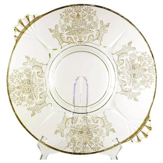 Paden City Vintage Glass Platter Gothic Garden Elegant Etched Glass Gold Trim 1930s