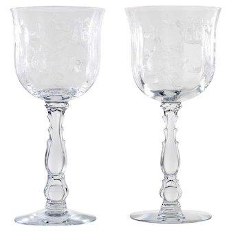 Fostoria Willowmere Water Goblets Vintage Elegant Glass Rose Etched Vintage 1930s
