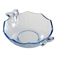 Fostoria Fairfax Blue Elegant Glass Whipped Cream Bowl 1930s Bow Handles Vintage