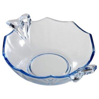 Fostoria Fairfax Blue Elegant Glass Whipped Cream Bowl 1930s Bow Handles Vintage