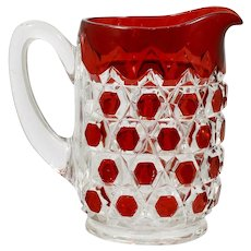 Ruby Stained EAPG Glass Pitcher Antique Hexagon Block Bryce c 1890s Vintage Water Jug