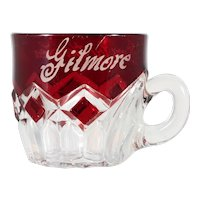 EAPG Ruby Stained Souvenir Mug Antique Glass Gilmore 1895 Avon By the Sea