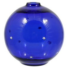Glass Eye Studio Oil Lamp Art Glass Midnight Stars Cobalt Blue Seattle Hand Made