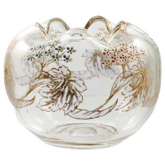 Antique Bohemian Art Glass Rose Bowl Enameled Flowers Pink Blue Forget Me Knots Vase