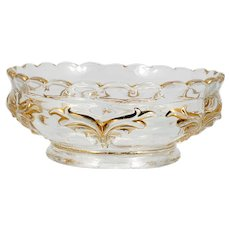 Heisey Winged Scroll EAPG Glass Bowl Antique Pressed Glass Gold Berry