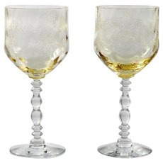 Fostoria Serenity Wine Glasses Yellow Topaz Etched Flowers Drape Vintage