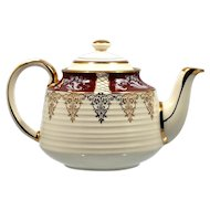 Sadler Teapot Ivory Gold Red with Flowers English Vintage British Pottery 1940s