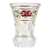 Hand Cut Austrian Crystal Vase Hand Painted Roses Gold Trim European Glass