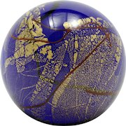 Glass Eye Studio GES Midnight Gold Paperweight Cobalt Blue Marble