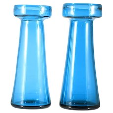 Pair Pairpoint Blue Hyacinth Vases Forcing Bulbs Teal Hand Blown Signed