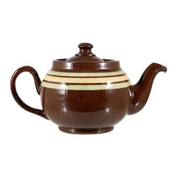 Vintage LB Brown Betty Teapot Individual 1 Cup Green Orange Stripe 1940s