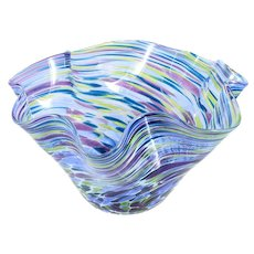 Glass Eye Studio Art Glass Bowl Hand Blown Seattle Green Purple Blue GES