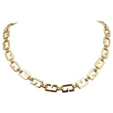 Givenchy G Link Necklace Gold Plated Vintage 1980s