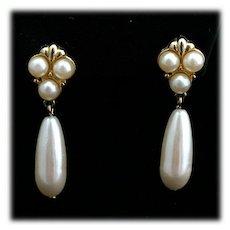 Marvella Faux Pearl Dangle Drop Earrings in Gold tone
