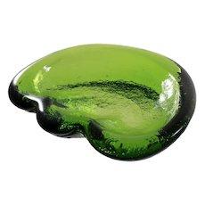 Blenko Green Art Glass Ashtray Bowl Mid Century 1960s Hand Made Vintage
