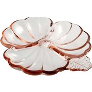 Jeanette Pink Depression Glass Candy Dish Doric and Pansy 3 part bowl Vintage 1930s