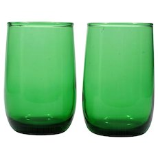 Forest Green Anchor Hocking Tumblers Juice Roly Poly Small 1970s Vintage Glass