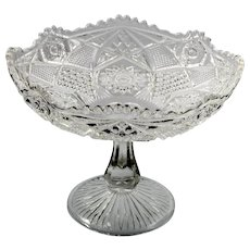 EAPG Pressed Glass Compote Keystone US Glass no 15124 Omnibus Pathfinder