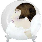 St Luke Fused Glass Art Glass Plate Signed Woman Portrait Victor Palumbo
