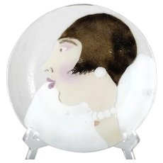 St Luke Fused Glass Art Glass Plate Signed Woman Portrait Victor Palumbo