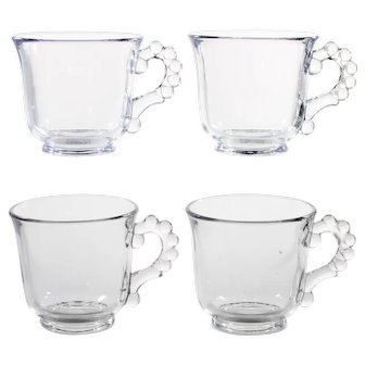 Imperial Candlewick Elegant Glass Punch Cups Set 4 Vintage Crystal Tea Coffee