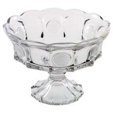 Vintage Fostoria Glass Coin Compote Elegant Pedestal Fruit Bowl 1950s Crystal