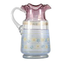 Antique Enameled Art Glass Pitcher with Ruby Stain Flowers Scrolls American or Bohemian