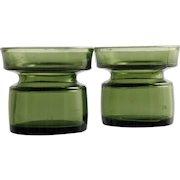 Dansk Green Art Glass Candle Holder Pair Vintage Mid Century Modern Danish Vase