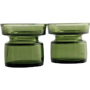 Dansk Green Art Glass Candle Holder Pair Vintage Mid Century Modern Danish Vase