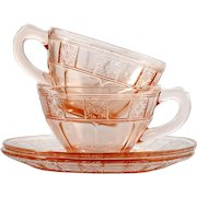 Pink Depression Glass Cup and Saucers Pair Doric Jeannette Glass 1930s