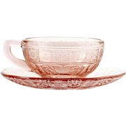 Jeannette Doric and Pansy Pink Depression Glass Childs Cup and Saucer Vintage 1930s