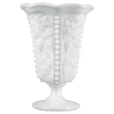 Westmoreland Milk Glass Vase Beaded Grape Vintage Paneled 1940s Elegant Glass