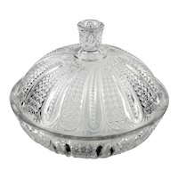 EAPG McKee Doric Antique Glass Covered Round Bowl Feather 1896 Pressed Glass
