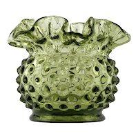 Fenton Glass Colonial Green Hobnail Mini Vase Double Crimped Vintage 1960s