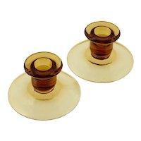 Pair Vintage Amber Depression Glass Candle Holders Elegant Glass