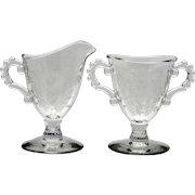 Imperial Glass Candlewick Sugar and Creamer set Floral Cut Vintage Elegant Glass
