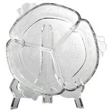 Heisey Crinoline Etched Elegant Glass Relish Dish Vintage Roses Bows Bowl