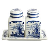 Delft Blue Canister Set Hand Made in Holland Vintage Kitchen Jars Windmill Boats Flowers