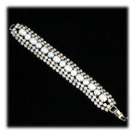 Vintage Opalescent Rhinestone Bracelet 1940s Moonglow Glass