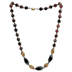 Rhodonite and Hematite Vintage Necklace with Gold Colored Beads