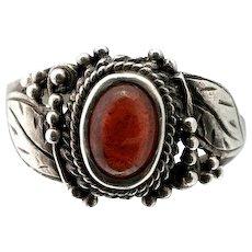 Vintage Sterling Silver Ring Size 6 Spessartite Garnet