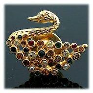 Elegant Swarovski Rhinestone Swan Lapel Pin Multicolored