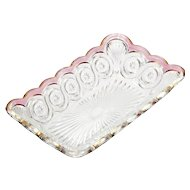 EAPG Rose Stained Star in Bullseye Rectangular Dish Antique 1905 US Glass