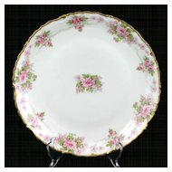Elite Limoges Porcelain Plate Pink Roses Flowers Gold Trim
